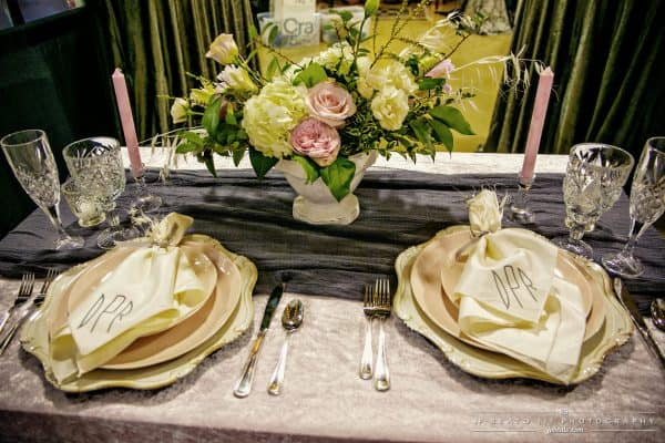 Head Table Set Up Pink Linen