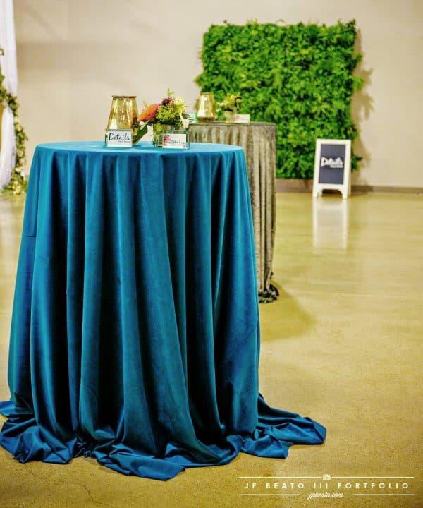 turquoise velvet linen cocktail table