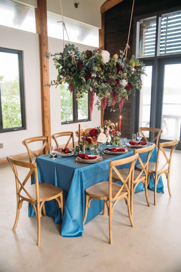 Blue and burgundy table
