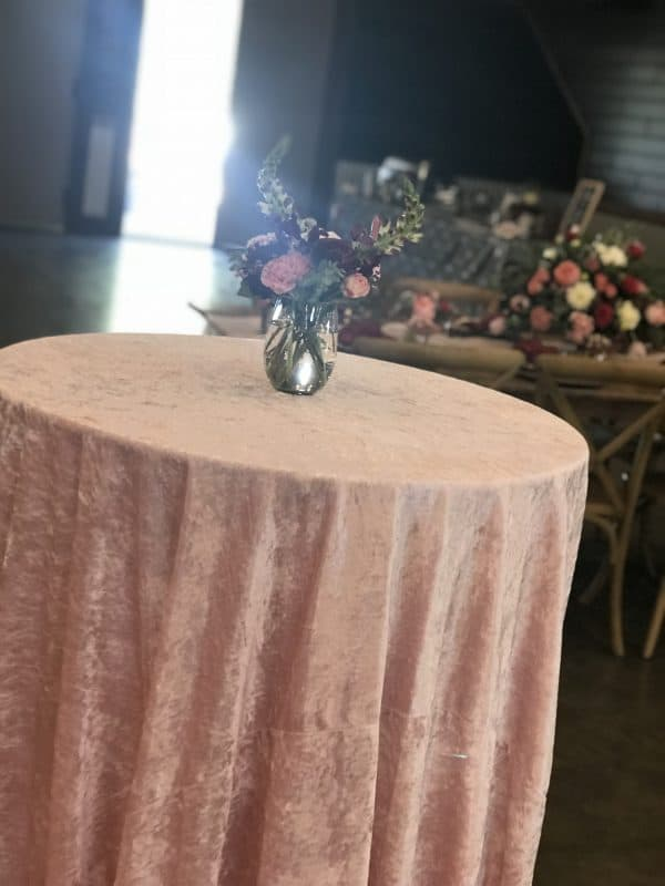 Pink Velvet Linen on Cocktail Table