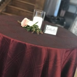 Burgundy Linen on Cocktail Table