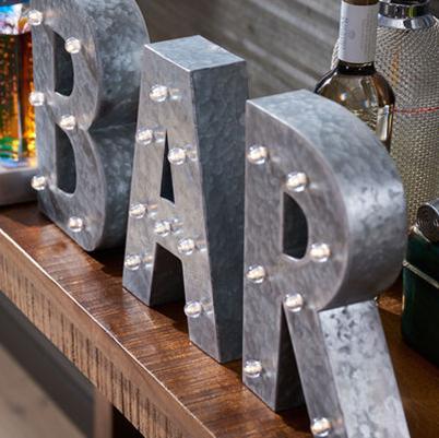 galvanized bar letters