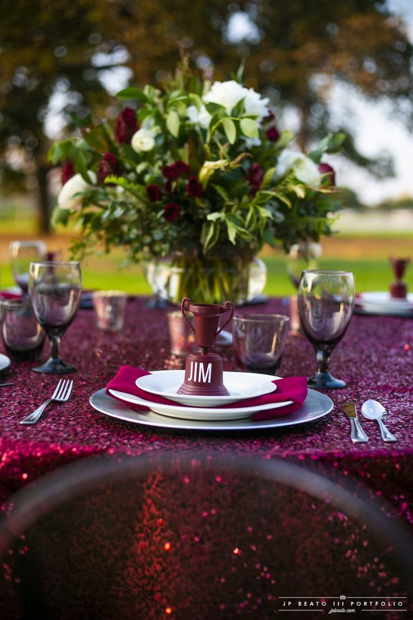 Maroon Sequin Tailgate Set Up