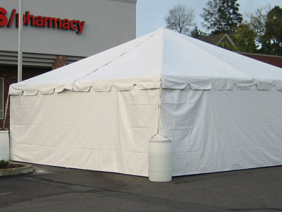 Solid white tent sidewall