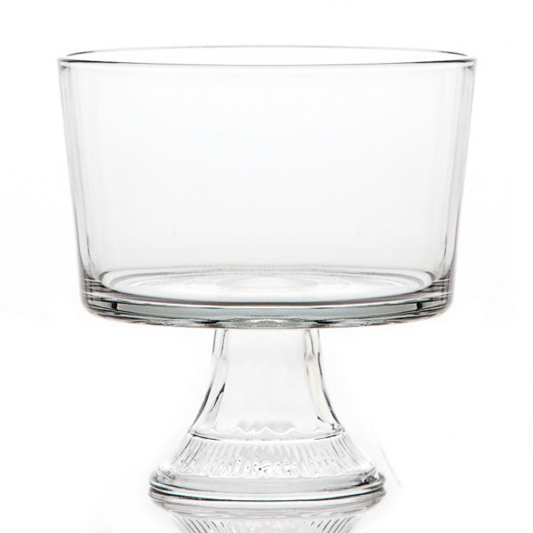 clear glass trifle dish with pedestal